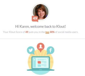 Karen's Klout score image